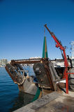 Fishing boat. Net loading with crane Royalty Free Stock Photos