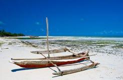 Fishing boat. On beach,southern coast of Zanzibar island Stock Photography
