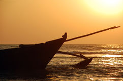 Fishing boat. At sunset in Goa, India Royalty Free Stock Images