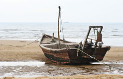 Fishing boat. On the bank of the  sea, after work.photo taked at China Hebei Royalty Free Stock Images
