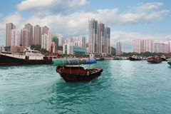 Fishing boat in Aberdeen harbor in Hong Kong Stock Photos