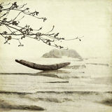Fishing Boat and Almond Tree Art Background Stock Photography