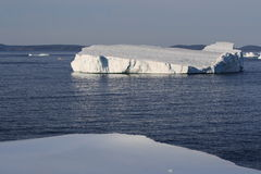 Fishing Boat Amoung Icebergs in Goose Cove Royalty Free Stock Photos