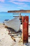 Fishing boat. Black Sea, Romania. Seascape. Fishing boat anchored on the Black Sea, Romania. Seascape stock photo