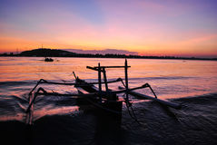 Fishing boat anchored at Gili Meno island Royalty Free Stock Photos