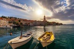 Fishing boat anchoring in beautiful Sutivan port, Brac island, Croatia. Sutivan on Island Brac in Croatia. Made of well known. White limestone. Port with stock photography