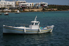 Fishing boat in Antiparos island. Small fishing boat in Antiparos island royalty free stock image