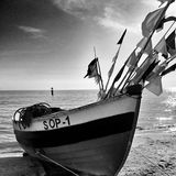 Fishing boat. Artistic look in black and white. Royalty Free Stock Photo