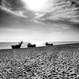 Fishing boat. Artistic look in black and white. Royalty Free Stock Photography