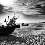Fishing boat. Artistic look in black and white. Stock Photos