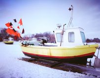 Fishing boat. Artistic look in vintage vivid colours. Royalty Free Stock Image