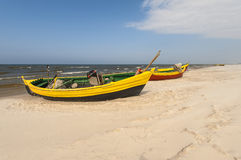Fishing boat on the Baltic beach Royalty Free Stock Images