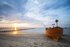 Fishing boat on the Baltic coast Stock Image