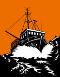 Fishing boat battling huge waves stock illustration