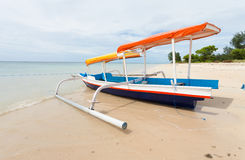Fishing boat. In bay on Gili Air island of Bali, Indonesia royalty free stock photography