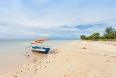 Fishing boat. In bay on Gili Air island of Bali, Indonesia stock photo