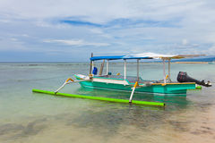 Fishing boat. In bay on Gili Air island of Bali, Indonesia stock images