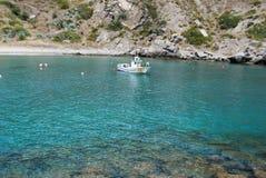 Fishing boat in the bay, Marina del Este, Spain. Traditional fishing boat in harbour mouth, Marina del Este, Costa del Sol, Granada, Province, Andalusia Royalty Free Stock Images