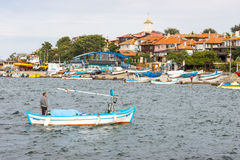 Fishing boat in the Bay of Nessebar, Bulgaria Royalty Free Stock Images