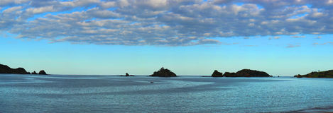 Fishing Boat in Bay (Panoramic) Royalty Free Stock Images