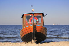 Fishing boat on the beach. Usedom island, Germany, Baltic Sea Royalty Free Stock Images
