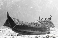 Fishing boat on the beach against jungle background. Black and white Stock Image