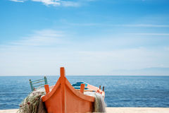 Fishing boat on the beach in Alexandroupolis, Greece Stock Image