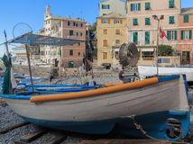 Fishing boat on the beach at Boccadasse, Genoa Royalty Free Stock Photography