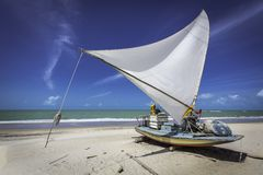 Fishing boat on a beach in Brazil royalty free stock images