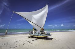 Fishing boat on a beach in Brazil stock photo
