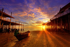 Fishing Boat  beach at dawn. Stock Image