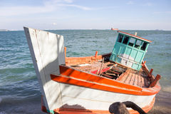 Fishing boat on the beach,Koh si chang Thailand Stock Photography