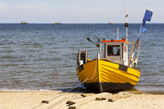 Fishing boat on the beach. Royalty Free Stock Photo