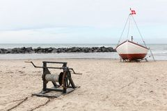 Fishing boat on the beach in Lonstrup Stock Photos