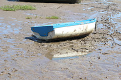 Fishing Boat on Beach at Morecombe Stock Image