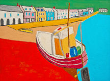 Fishing boat on the beach: oil on canvas. Illustration using oil on canvas of a fishing boat on the beach beside colorful cottages vector illustration