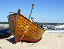 Fishing boat on beach Royalty Free Stock Photo