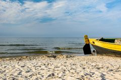 Fishing boat on the beach. Royalty Free Stock Images