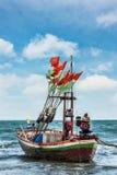 Fishing boat at beach on summer season Stock Photos