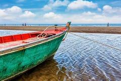 Fishing boat at beach on summer season Royalty Free Stock Photography