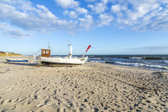 Fishing boat at the beach in Usedom Royalty Free Stock Photography
