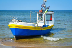Fishing boat on beach Royalty Free Stock Photo