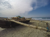 Fishing boat on the beach. Wooden fishing boat on the beach Royalty Free Stock Images