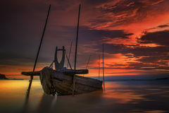 Fishing boat beached Stock Photos