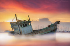 Fishing boat beached Stock Images