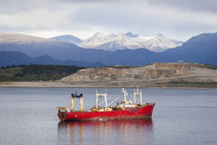 Fishing boat in Beagle Channel Royalty Free Stock Photos