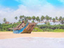 Fishing boat at beautiful ocean palm beach Royalty Free Stock Images