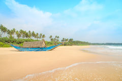 Fishing boat at beautiful ocean palm beach Royalty Free Stock Photography