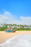 Fishing boat at beautiful ocean palm beach Stock Image