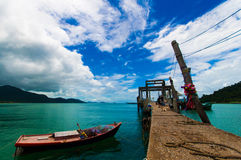Fishing boat with a blue sky Stock Images